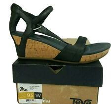 Teva Women US 9.5W EU 40.5 Capri Wedge Pearlized Black Sandals Cork Shoe NEW