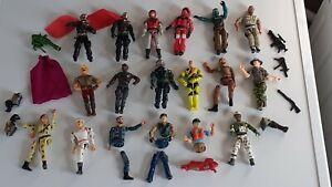 Vintage Lot de 18 GI Joe + Accessoires Figurines Hasbro Lanard Hong Kong