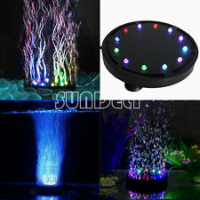 12 LED Submersible Bubble Light&Air Stone for Aquarium Fish Tank Pump Curtain