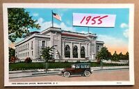 Washington DC PAN AMERICAN UNION Flag Vintage Car Building Postcard (70539)