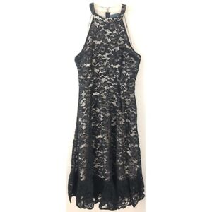 Modcloth Black Lace A Night Like This Halter Dress Womens 10 NWT