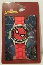 SPIDERMAN WATCH *SPINNER COVER* Colorful Spidey Face & Red Silicone Adjust Band