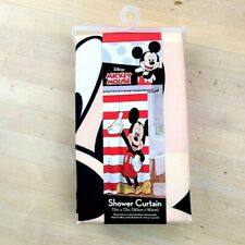 """NEW Disney Mickey Mouse Shower Curtain 72"""" X 72"""", Red Striped Mickey"""