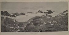 Mt. Lyell glacier Great Basin Sierra Nevada California Lithograph 1889