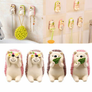 US Hedgehog Wall Mounted Toothbrush Holder Cute Sticky Hook Bathroom Kids Favor