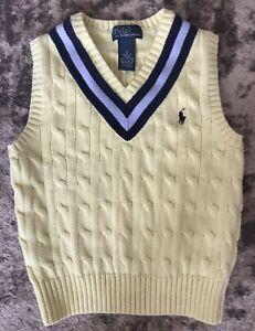Polo Ralph Lauren Boys Navy & Yellow V-Neck Easter Sweater Vest Sz 5