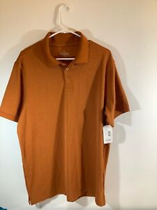 Outdoor Life Mens Polo Shirt Short Sleeve Orange Striped Size L NWT