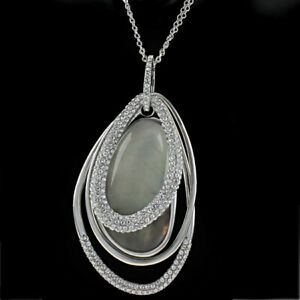 HSN Joan Boyce Pave & Mother of Pearl Pendant With Cubic Zirconia Station Chain
