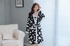 Black Cow Winter Bathrobe Nightwear Set Flannel Warm Women Sleepwear Pajama