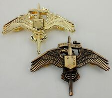 USMC MARINE RAIDERS BADGE INSIGNIA USMC MARSOC WINGS BADGE PIN GOLDEN & BRONZE