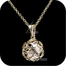 18k rose gold gp made with SWAROVSKI crystal filigree ball pendant necklace