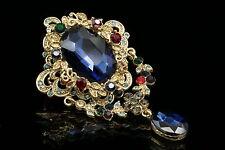 Victorian royal blue Austrian crystal rhinestone charms old gold brooch pin H08