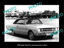 OLD POSTCARD SIZE PHOTO OF 1968 DODGE DART GT COUPE LAUNCH PRESS PHOTO 1