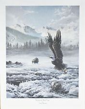 """""""Grizzly And Bald Eagle"""" by Newell Boatman Offset Lithograph on Paper CoA 2010"""