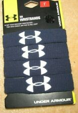 "Under Armour Ua Wristbands- 1"" Performance Bands- 4 Pk. Navy Blue w/White- New!"
