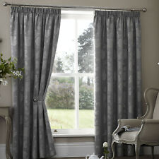 "Palmero Thermal Lined Blockout Pair of Pencil Pleat Curtains 66"" X 72"" Silver"