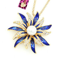 Betsey Johnson Enamel Pearl Crystal Sunflower Pendant Chain Necklace/Brooch Pin