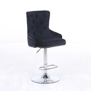 CGC Black Bar Stool Brushed Velvet Black Luxury Chaise Adjustable Studded Swivel
