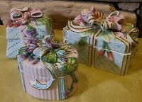 Set of 3 Fitz & Floyd Essentials Handcrafted Porcelain Trinket Boxes Flowers Bow