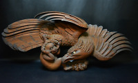 Japanese Antique Wood Carving Falcon & Monkey Extra Large Sculpture Edo Era