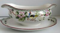 Nippon Noritake Gravy Boat with Attached Underplate Mystery #40 Flowers Peacocks