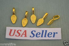 150 Glue-On Pendant Bails, 24K Gold Plated, Aanraku Style, Jewelry Making, USA!