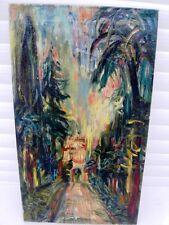 """SOURDILLON Berthe (1895-1976) """"Rue ombragée sous les palmiers"""" Huile sur toile"""