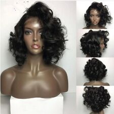 8A 130% Density Unprocessed Brazillian Curly Lace Front Human Hair Wig 12inches