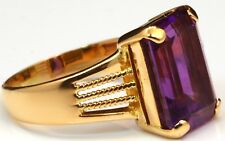 Antique Huge Amethyst Cocktail Ring 14K Yellow Gold Estate Bargain!
