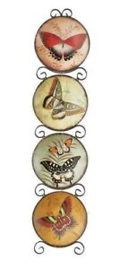 Butterfly Design Plate Set with Scrolled Black Metal Wall Rack