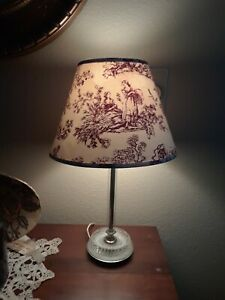 """Single Red Toile Ivory Decorative Lamp Shade Lighting Traditional Home 7""""H"""