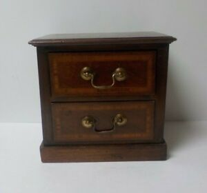 19th C. Mahogany 2-Drawer Miniature Chest - Salesman Sample, Inlaid Banding
