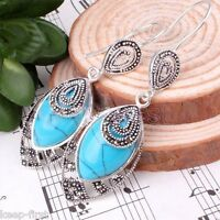 Fashion Women's Blue Turquoise 925 Sterling Silver Marcasite Dangle Earrings