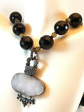Huge Natural Indonesian White Drusy Quarts Minerals Sterling Pendant Black Beads
