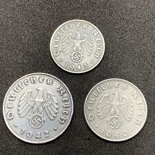 Nazi Coin Lot Rare World War 2 German Zinc 1 5 & 10 Reichspfennig Swastika Coins
