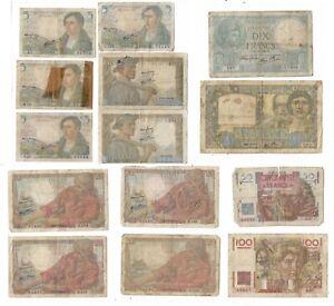 Lot de 14 anciens Billets de Banque de FRANCE usés , utilisés .....