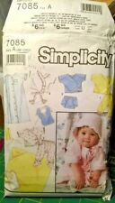 SIMPLICITY 7085 BABY NEWBORN to 12 MONTHS (c)1990 LAYETTE CLOTHES SEWING PATTERN