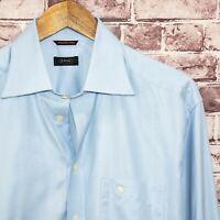 ETON Men's Button Front Dress Shirt Blue Wrinkle free Cotton Size 16