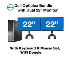 "Dell Desktop PC Computer Core I3 3.4GHz 16GB RAM DUAL 22"" LCD Monitor WIFI 1TB"