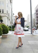 Vestido de verano nuevo con etiquetas Karen Millen cinta bordado floral magnífico marfil UK12 DV153