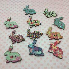 Wooden Easter Rabbit Buttons 2 holes 30mm Mixed Colour x 10 pcs scrapbook cards