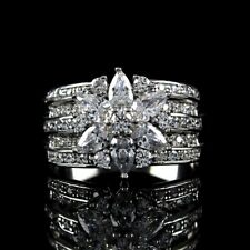QVC Diamonique Ring Sterling Silver 2.10 cttw Mixed Cut Flower Size 9