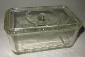 Vintage Glasbake Medium Refrigerator Dish Clear Glass with Lid