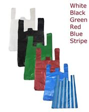 PLASTIC VEST CARRIER BAGS BLUE WHITE BLACK OR GREEN ALL SIZES - SUPERMARKETS