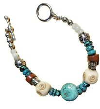 """Turquoise Bracelet Chunky Beads Silver Tan 7"""" to 8"""""""