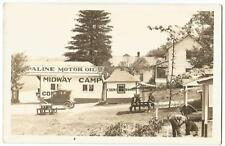 Midway Camp Cabins & Sinclair HC Gasoline Opaline Motor Oil Station RPPC 1930's