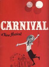 """""""Carnival"""" Souvenir Program 1961 Jerry Orbach, Kaye Ballard, Susan Watson"""