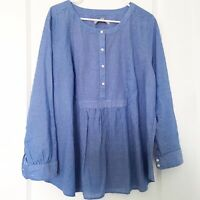 LOFT Plus Womens Size 18 Tunic Popover Top Blue And White Stripes 100% Cotton