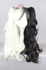 Cosplay wig Halloween Danganronpa monokuma black mix white clip costume Hair