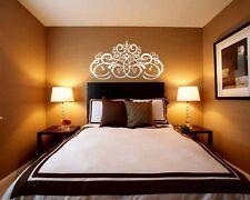 Vinyl Wall Decal Sticker Bedroom Headboard Pattern Damask Bed Flowers r1590